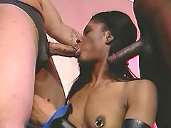 Splendid ebony gets drilled on sofa