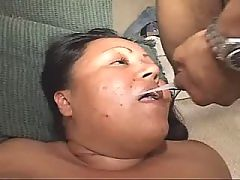 Killer longhaired ebony enjoys oral